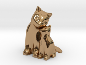 Cuddling Kittens in Polished Brass
