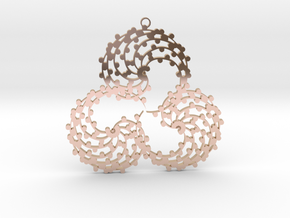 TriSwirl with balls Pendant  in 14k Rose Gold Plated Brass