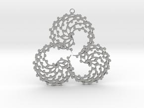 TriSwirl with balls Pendant  in Aluminum