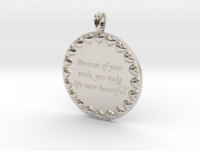 Because Of Your Smile | Jewelry Quote Necklace. in Platinum