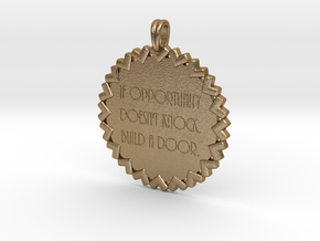If Opportunity Doesn't Knock   Jewelry Quote in Polished Gold Steel