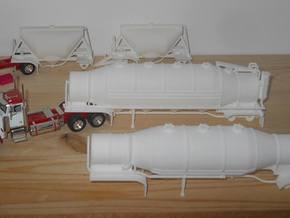 S-scale 1/64 Shorty Dry Bulk Trailer 07a - no axle in White Strong & Flexible