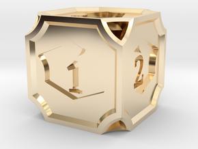 Planeswalker Loyalty D6 in 14k Gold Plated Brass