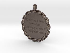 Knowing Others Is Wisdom   Jewelry Quote Necklace. in Polished Bronzed Silver Steel