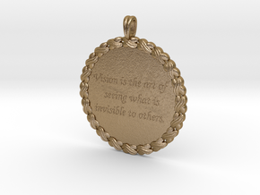 Vision Is The Art Of Seeing   Quote Pendant in Polished Gold Steel