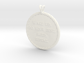 Wake Up | Jewelry Quote Necklace. in White Processed Versatile Plastic