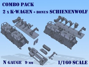 1-160 2x K-Wagen BP-42 + SchienenWolf in Smooth Fine Detail Plastic