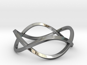 Size 6 Infinity Twist Ring in Fine Detail Polished Silver