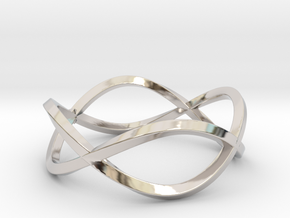 Size 10 Infinity Twist Ring in Rhodium Plated Brass