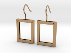 Picture Frame Earrings in Polished Brass