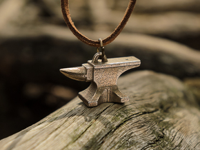 Anvil Pendant - Original Design in Polished Bronzed Silver Steel