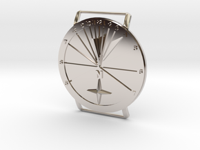 27.75N Sundial Wristwatch With Compass Rose in Rhodium Plated Brass