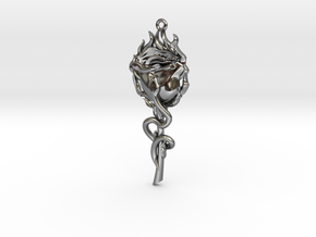 Rose and Snake in Fine Detail Polished Silver