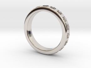 Ring With Snowflake Motif Ø18 mm/0.708 inch in Rhodium Plated Brass