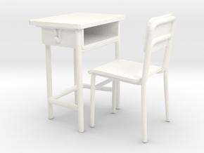 School desk 01. 1:24 Scale in White Processed Versatile Plastic
