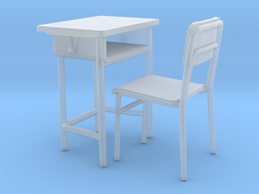 School desk 01. 1:24 Scale in Smooth Fine Detail Plastic