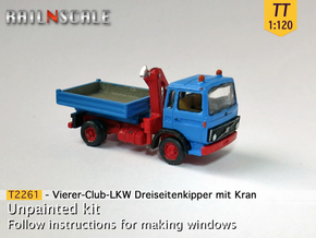 Vierer-Club-LKW Dreiseitenkipper Kran (TT 1:120) in Smooth Fine Detail Plastic