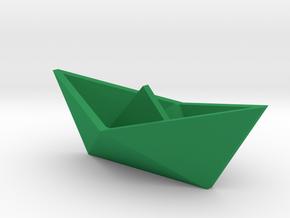 Classic Origami Boat in Green Processed Versatile Plastic
