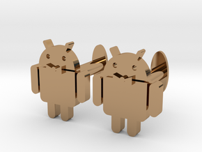 Android Cufflinks 2x  in Polished Brass