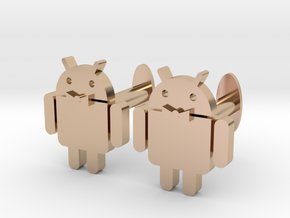Android Cufflinks 2x  in 14k Rose Gold Plated Brass