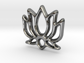 Lotus Charm - 11mm in Fine Detail Polished Silver