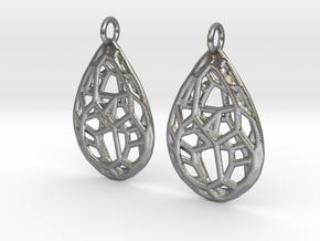 Organic Drop Earrings in Natural Silver