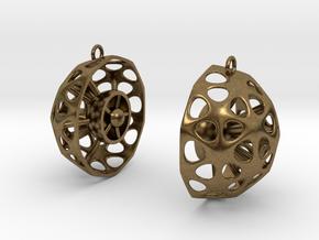 Diatom Earrings 02 in Natural Bronze