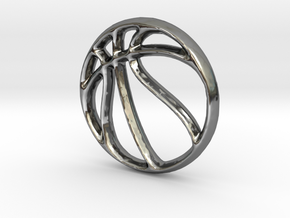 Basketball Charm - 11mm in Fine Detail Polished Silver