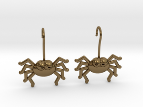 Cute Spider Earrings in Polished Bronze