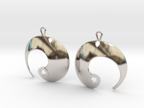 Enso No. 1 Earrings in Rhodium Plated Brass