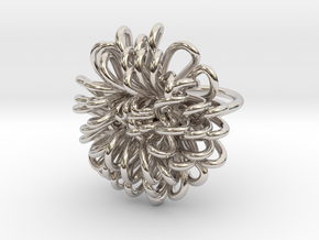 Ring 'Wiener Blume', Size 7.5 (Ø 17.7 mm) in Rhodium Plated Brass
