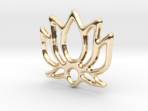 Lotus Pendant/Charm - 16mm in 14K Yellow Gold
