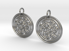 Norse Motif Round Earrings in Natural Silver