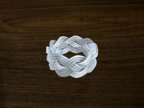 Turk's Head Knot Ring 4 Part X 9 Bight - Size 8.25 in White Strong & Flexible
