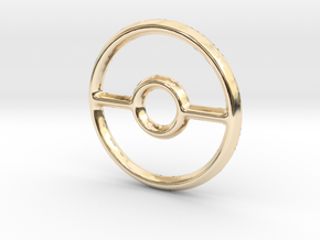 Pokeball (Open) Pendant/Charm - 16mm in 14K Yellow Gold