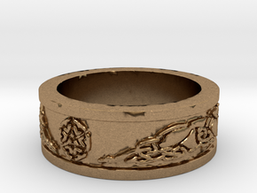 Norse Shield Ring Size 12.5 in Natural Brass