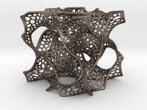 Gyroid Math Art in Polished Bronzed Silver Steel