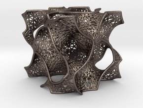 Gyroid Mesh Pattern in Polished Bronzed Silver Steel