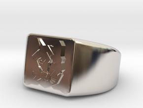 Geometric Wolf Ring in Rhodium Plated Brass