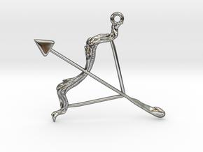 Sagittarius Pendant in Fine Detail Polished Silver