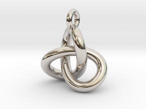 Trefoil Knot Pendant in Rhodium Plated Brass