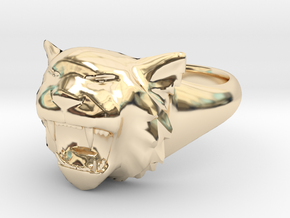 Awesome Tiger Ring Size 8 in 14K Yellow Gold