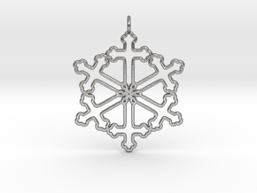 Snowflake Cross Version 2 in Raw Silver