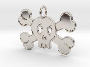 Cute Skull With Bones Pendant Charm in Platinum
