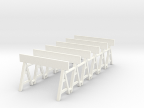 Traffic Barrier 01. 1:64 Scale in White Processed Versatile Plastic