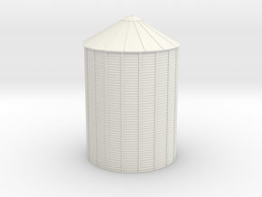 'N Scale' - Grain Bin - 36' dia.x48' Tall in White Natural Versatile Plastic