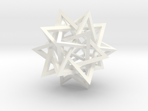 Five Intersecting Tetrahedrons Assembly in White Processed Versatile Plastic