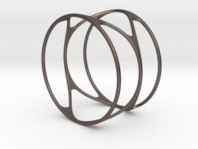 Thin bracelet - 67mm diameter in Polished Bronzed Silver Steel