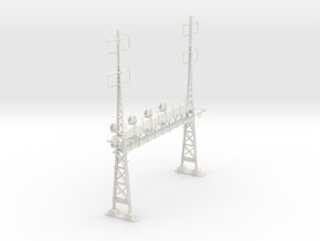 PRR S Scale Lattice Catenary Signal Bridge 2-2 PH  in White Natural Versatile Plastic