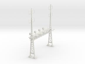 PRR S Scale Lattice Catenary Signal Bridge 2-2 PH  in White Natural Versatile Plastic